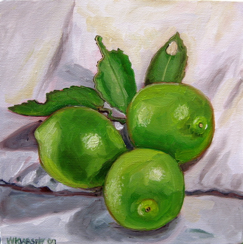 "White Lime Still Life, oil on canvas, 8""x8"""
