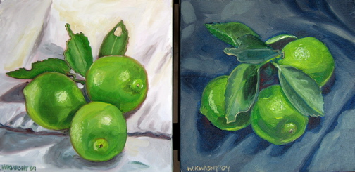White Lime and Black Lime Still Life, Side by side