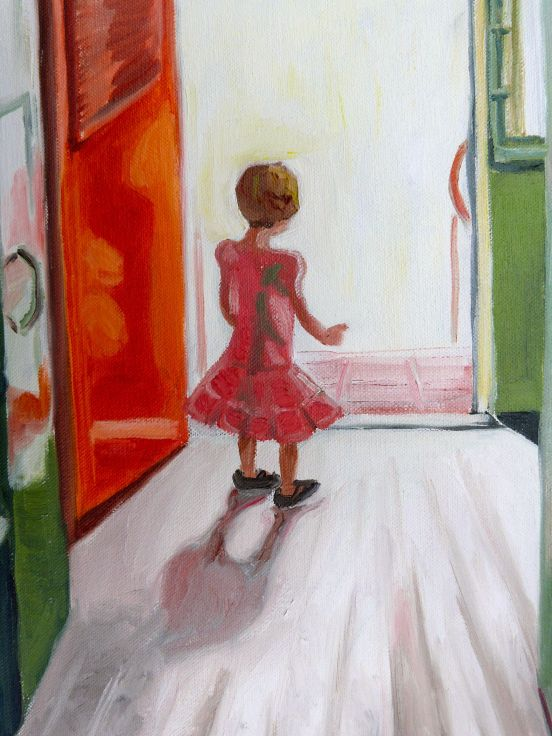 A close study of Ivy standing at the train door.