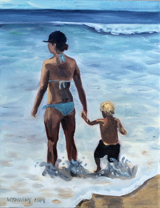 Mom and Babe on Beach